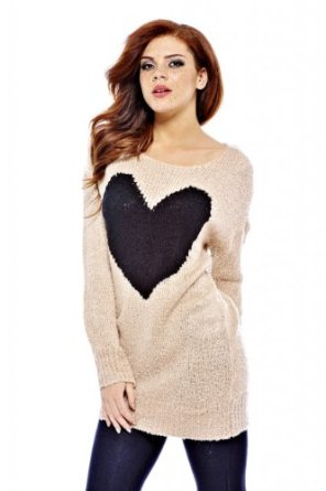 Amazon.com: AX Paris Women's Giant Heart Knit Pink Sweater: Clothing