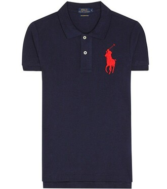 shirt polo shirt cotton blue top