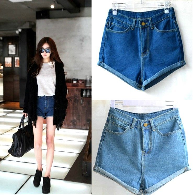 Women's Girls Blue Vintage Retro High Waist Crimping Pants Jeans Denim Shorts | eBay