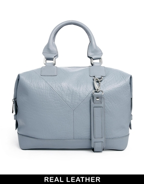 ASOS | ASOS Leather Structured Holdall With Panel Detail at ASOS
