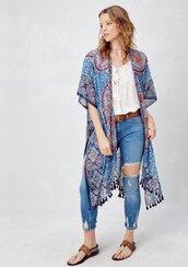 top,kimono,paisley,festival,mandala,mandala print,boho,bohemian,boho top,beach,cover up,summer,summer top,festival outfit