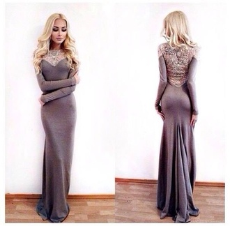dress maxi dress alena shishkova grey evening outfits gown floor length blonde hair prom lace sleeve maxi mermaid debs t-shirt material bag long sleeve dress bodycon dress gray maxi dress long sleeves lace back sweetheart neckline pretty grey dress knitted dress long gown long prom dress grey prom dress prom dress long dress silky classy elegant soft long sleeve fitted maxi dress fitted maxi dress elegant dress