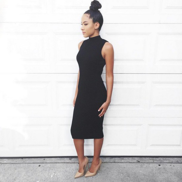 Dress Angl Black Black Dress Little Black Dress Chic Knee Length Dress Midi Dress
