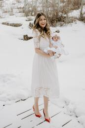 a little dash of darling,blogger,socks,shoes,dress,make-up,white lace dress,red heels,mother and child