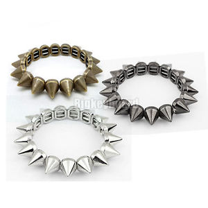 Rock Punk Gothic Style Spike Stud Rivet Elastic Stretch Bracelet Bangle | eBay