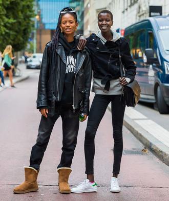 jeans black jacket stockholm fashion week streetstyle jacket leather jacket boots ugg boots sweatshirt hoodie black hoodie grey hoodie bag sneakers adidas stan smith