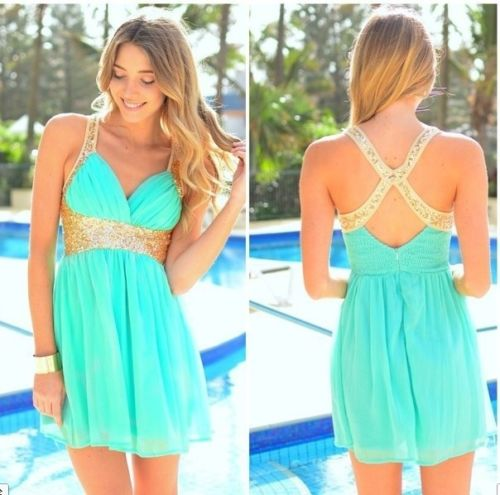 Pretty Bow Teal Gold Sequin Mini Halter Party Summer Dress s M L ...