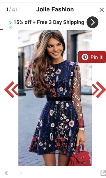 dress blue white red flowers long sleeve dress