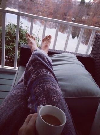 pants loose sweatpants pajamas pajama pants blue white floral design design loose pants red cute blue pajamas