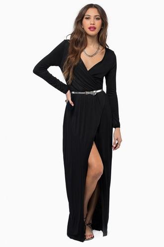 dress black long sleeves slit maxi khloe kardashian cotton