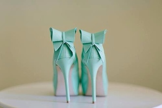 shoes tiffany blue heels mint high heels ribbon bow blue pumps