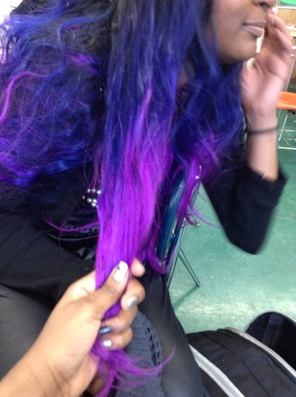 nail accessories ombre hair blue weave