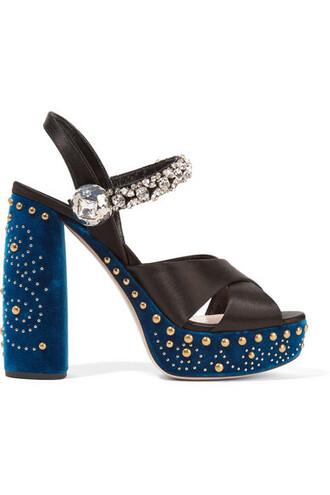 embellished sandals platform sandals black velvet satin shoes