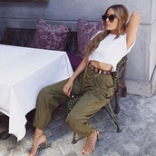 pants,joggers,olive green,striped tapered pants,black,fashion,High waisted shorts,high heel sandals
