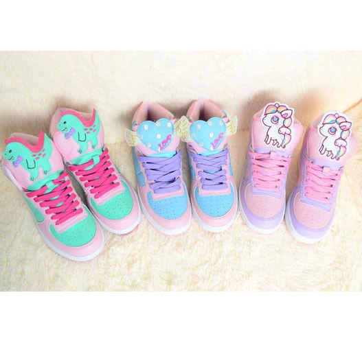 Cute harajuku women high sport shoes amo pink kawaii lolita running sneakers