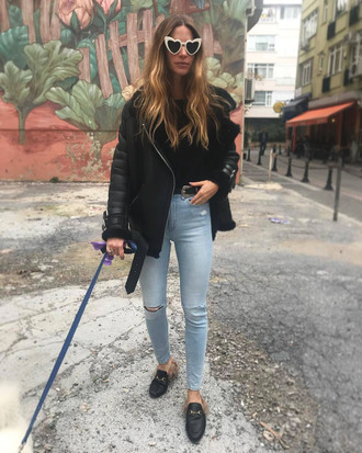jacket tumblr leather jacket black leather jacket denim jeans blue jeans ripped jeans shoes mules shearling jacket shearling acne studios sunglasses