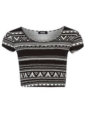 Sexy aztec print crop top plus size 16 bnwt black white beach party