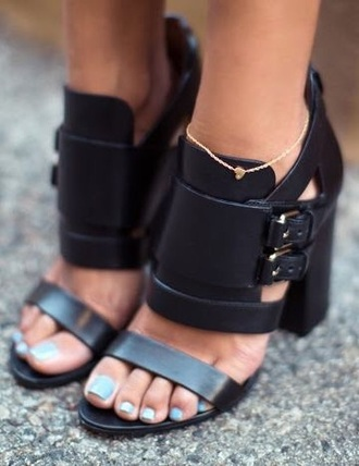 shoes black heels leather buckles straps