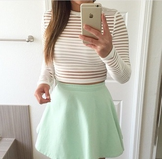 top skirt cute stripes crop tops style fashion white top white crop tops see through long sleeves striped top cute top cute outfits mint peplum high waisted high waisted skirt outfit summer outfits date outfit spring outfits shirt white green iphone summer chic
