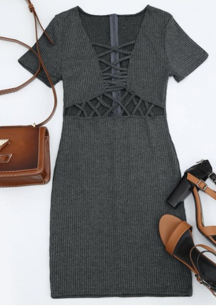 dress girly grey bodycon dress bodycon lace lace dress cut-out