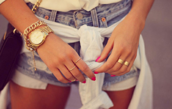 jewels watch jewelry clock beautiful golden girl shorts
