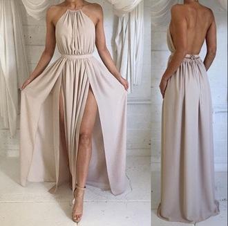 dress halter neck slit dress nude dress green dress prom dress formal dress