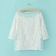Fashion Half Sleeve Crew Neck Lace White T-shirt For Women_14.58