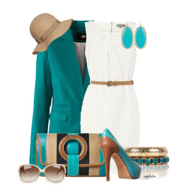 bag dress purse shades heels bangle hat earrings earth tone