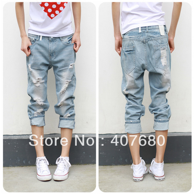 2013 summer loose jeans female plus size hole pants ankle length trousers beggar baggy pants washing