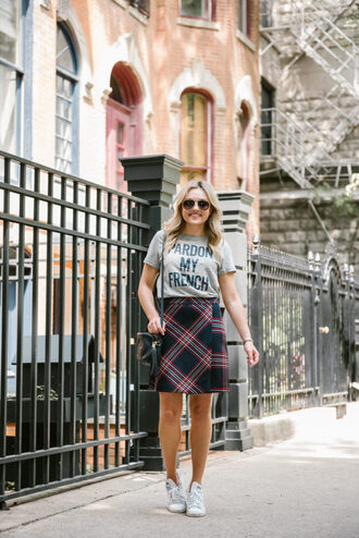 t-shirt mini skirt checked skirt white sneakers wrap skirt blogger blogger style a line skirt slogan t-shirts