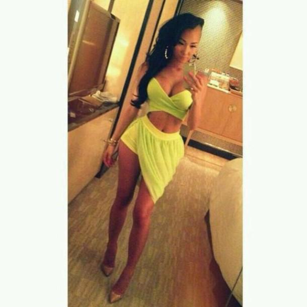 skirt lime green skirt top