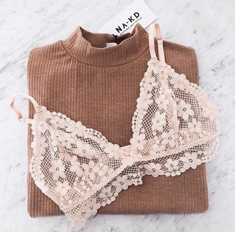 underwear floral bralette lace bralette ribbed bra white flowers lace lace bra sweater brown sweater cute tumblr pink girly