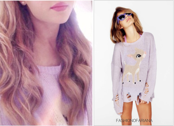 Sweater: ripped sweater, pastel purple, pastel purple sweater ...