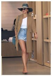 shorts,denim shorts,coat,hat,chrissy teigen,sandals,top,one shoulder,sunglasses,summer outfits