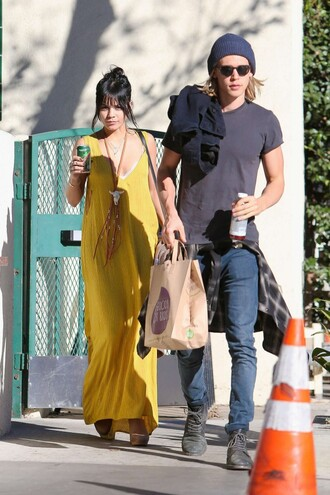 yellow yellow dress dress boho maxi dress vanessa hudgens
