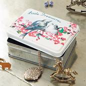 home accessory,tin,storage,decoration,gift ideas,birds,print,pattern,design,gorgeous,vintage,treasure