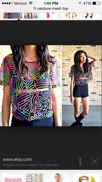 blouse mesh rainbow t-shirt