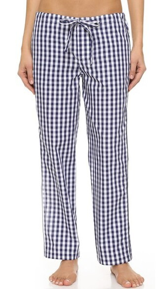 pants pajama pants navy gingham