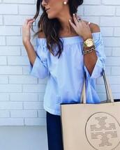 top,tumblr,striped top,bag,off the shoulder,off the shoulder top,blue top,stripes,tote bag,nude bag,denim,jeans,blue jeans,watch,gold watch