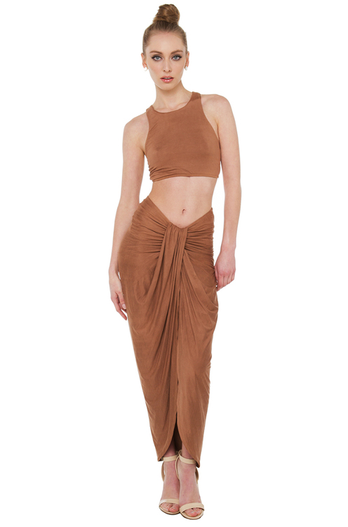 The End Mocha Suede Midi Skirt