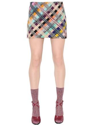 skirt mini skirt mini knit wool multicolor