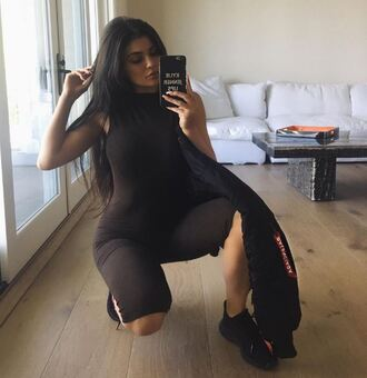 jumpsuit kylie jenner all black everything sneakers kardashians instagram