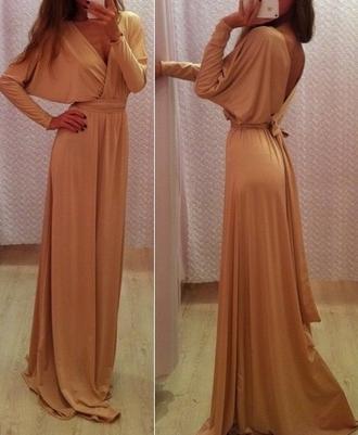 dress caramel maxi dress fashion blogger grecian dress