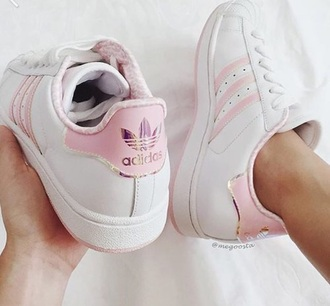 shoes adidas superstars pastel  pink