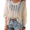V-neck hollow-out loose sweater disheefashion