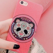 jewels,phone cover,iphone,cover,pink,panda,print,iphone case