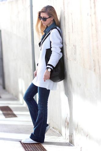 sirma markova blogger sweater dress v neck enim shirt flare jeans