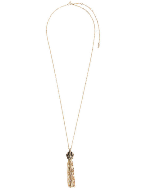 lanvin tassel women necklace grey metallic jewels