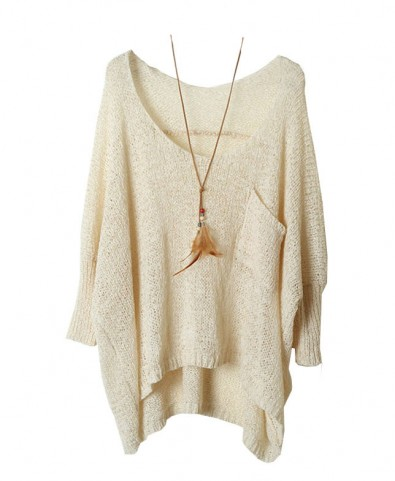 Batwing Sleeves Pullover with Single Patch Pocket - Knit Tops - Pullover - Knitwear - Clothing