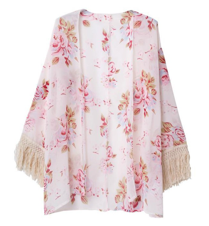 Rose Print Kimono With Fringe Sleeves